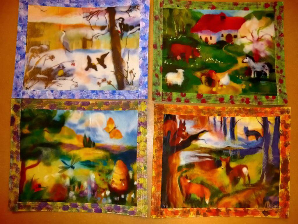 Quatre dessins représentant les 4 saisons, qui donnent lieu à des fêtes que les enfants attendent avec impatience.